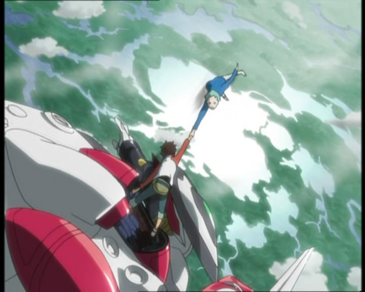 The scene which really defines this episode of Eureka Seven - Renton saves Eureka from her fall.